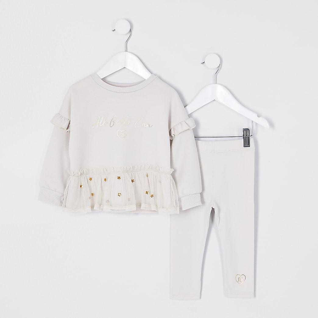 Mini girls beige mesh peplum legging outfit