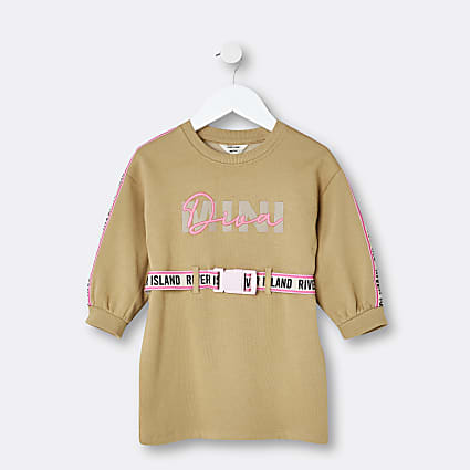 Mini girls beige 'Mini Diva' jumper dress