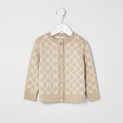 Mini girls beige monogram cardigan