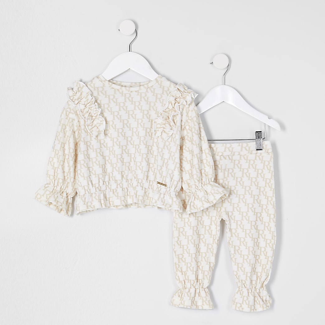 Mini girls beige monogram outfit