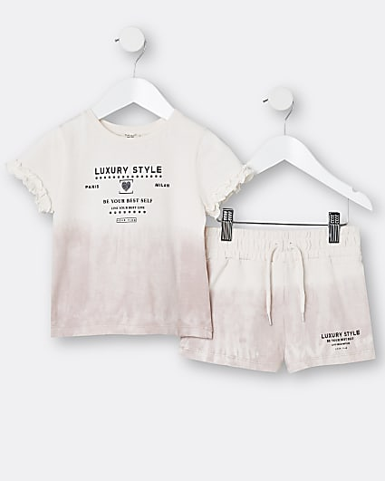 Mini girls beige ombre runner shorts outfit