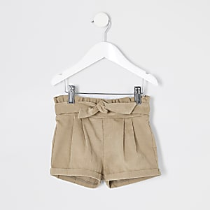 Mini - Beige corduroy shorts met tailleplooien voor meisjes