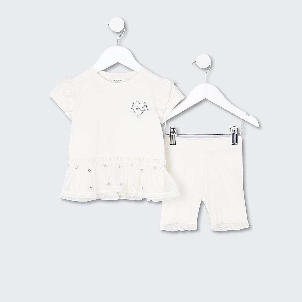 Mini girls beige peplum frill outfit