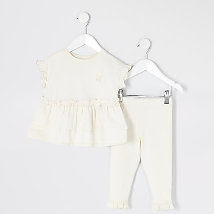 Mini girls beige peplum frill T-shirt outfit
