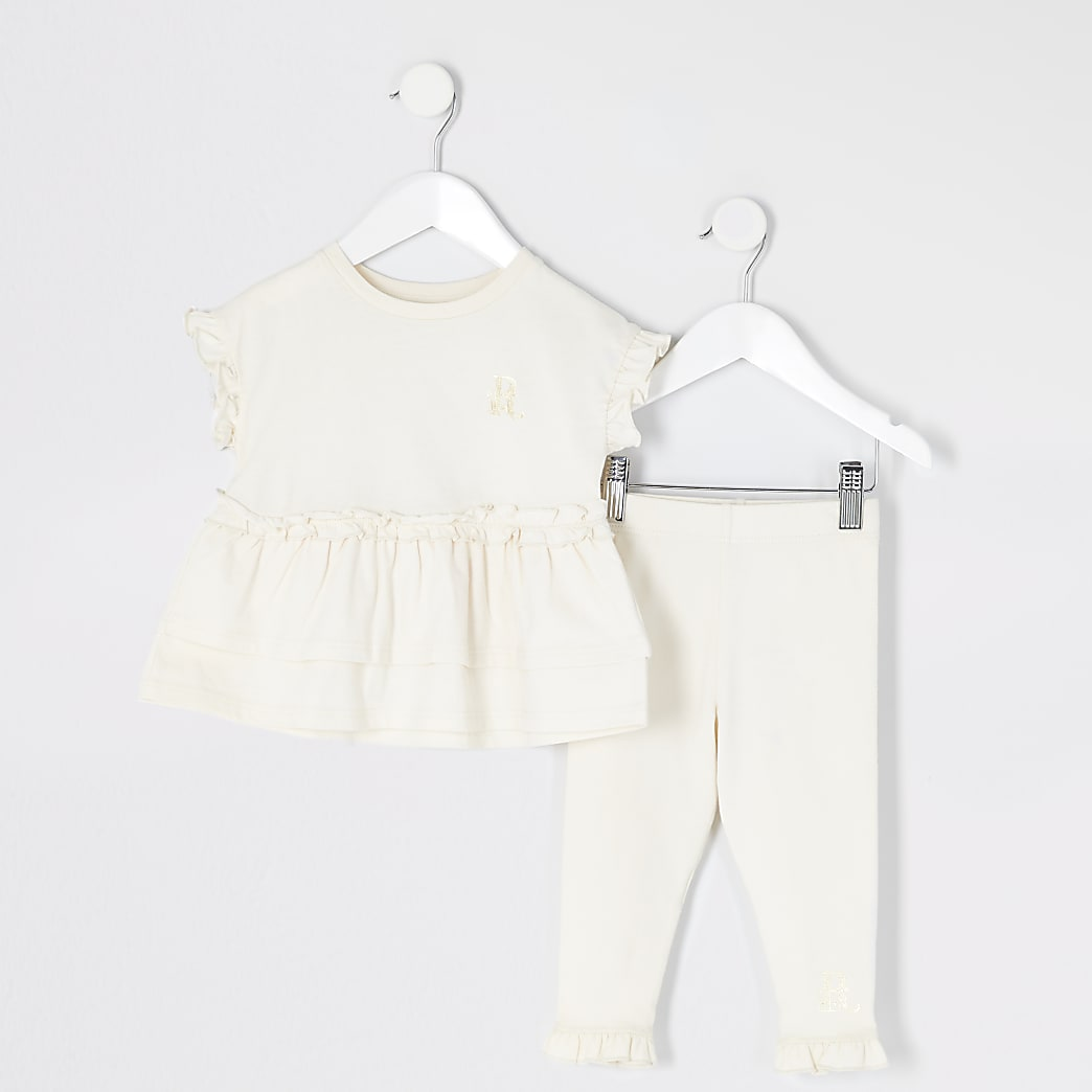 Mini girls beige peplum frill T-shirt outfit