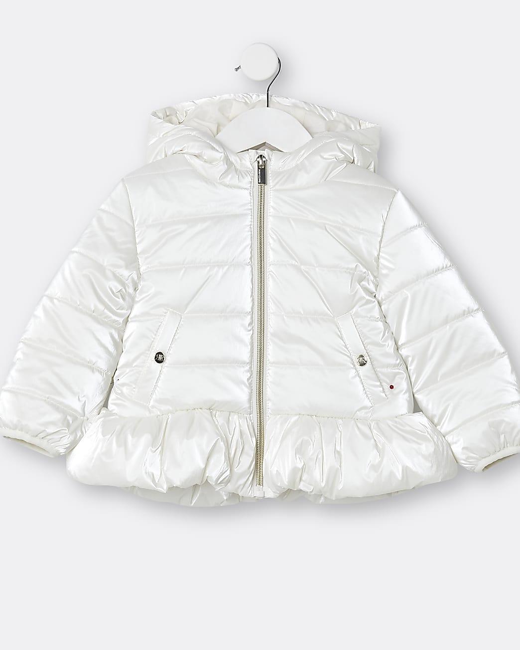 Mini girls beige peplum puffer coat