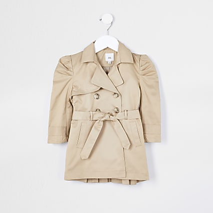 Mini girls beige pleated back trench coat