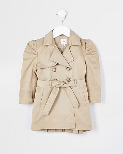 Mini girls beige pleated back trench coat