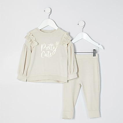 Mini girls beige 'Pretty cute' cosy outfit