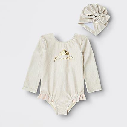 Mini girls beige princess foil frill swimsuit