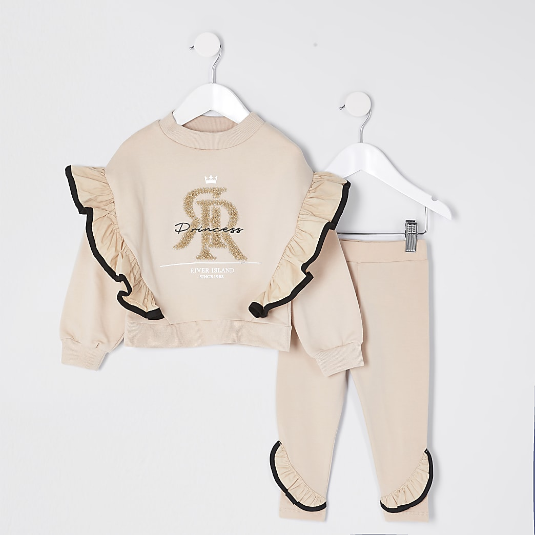 Mini girls beige 'Princess' frill outfit