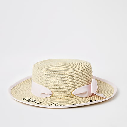 Mini girls beige printed bow boater hat