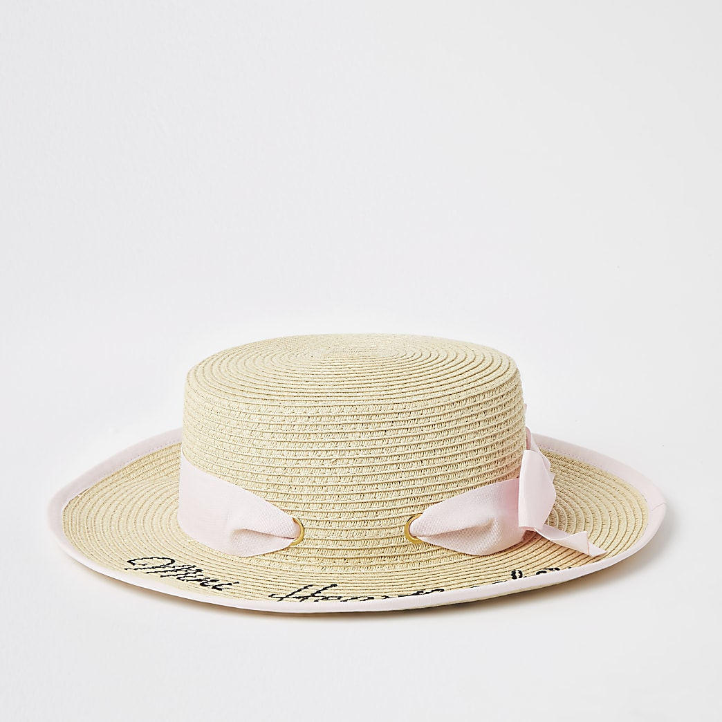 Mini girls beige printed bow boater hat