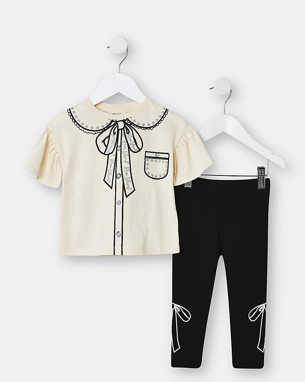 Mini girls beige printed collar legging set