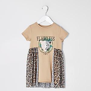 Mini – Beiges T-Shirt-Kleid mit Print und Mesh-Abschnitten
