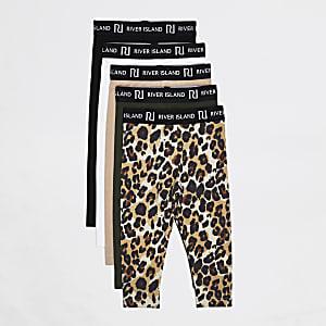 Mini - Beige leggingsmet RI print voor meisjes set van 5