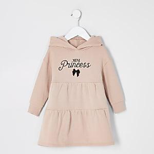 Mini – Gesmoktes Sweatshirtkleid in Beige mit Print