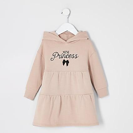 Mini girls beige printed smock sweat dress