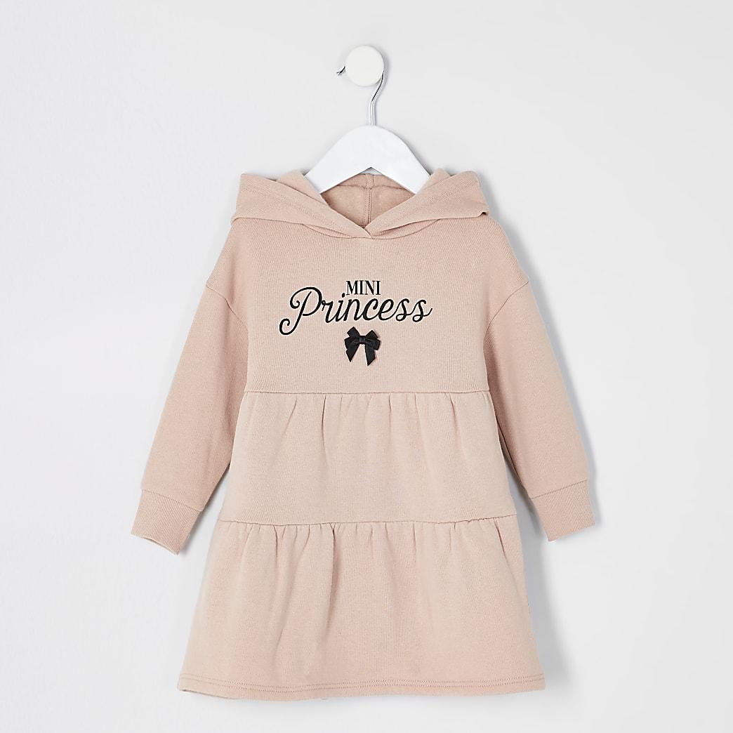 Mini - Beige gesmoktetrui-jurk met print voor meisjes