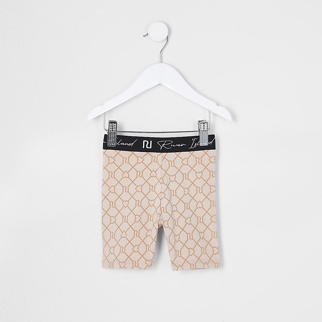 Mini girls beige RI cycling shorts