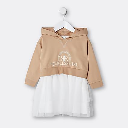 Mini girls beige RI hoodie sweat dress