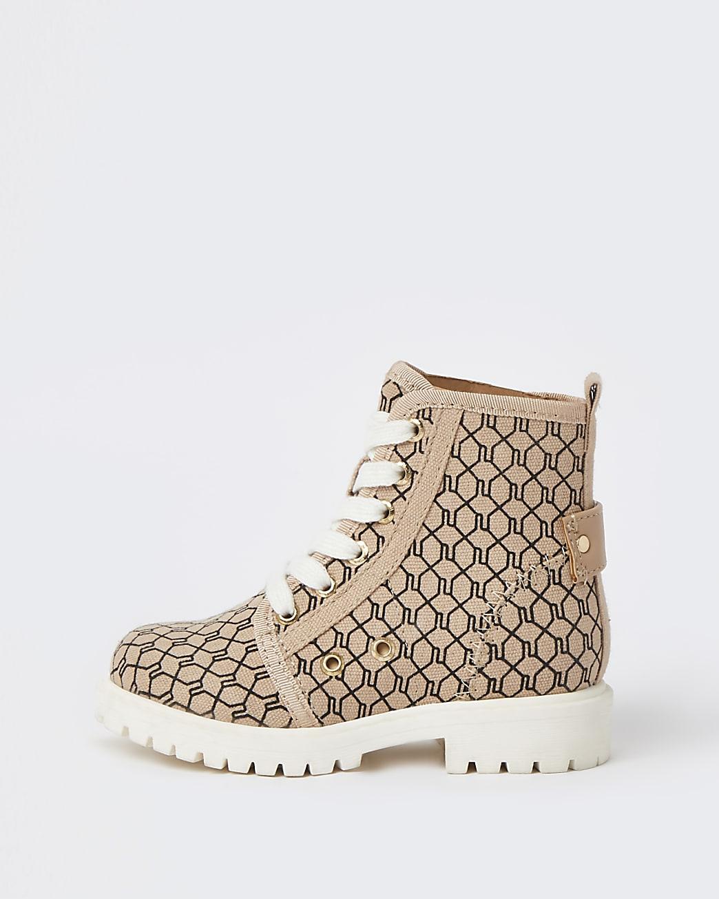Mini girls beige RI monogram lace up boots
