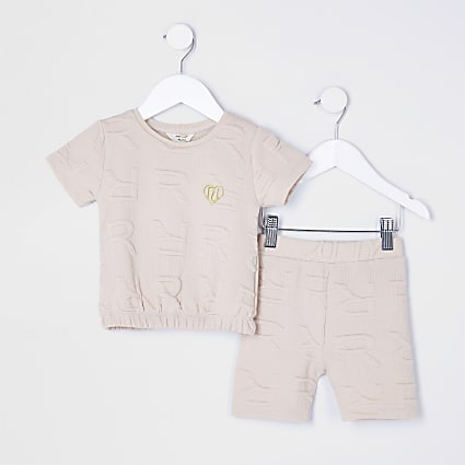 Mini girls beige RI Monogram shorts outfit