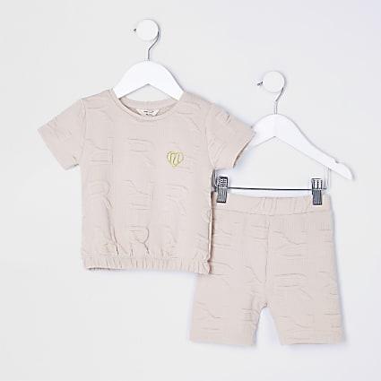 Mini girls beige RI Monogram shorts outfit