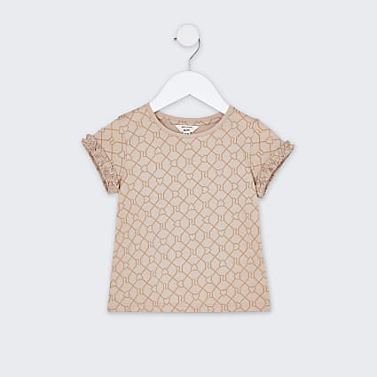 Mini girls beige RI monogram t-shirt