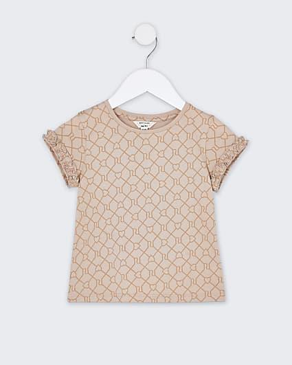 Mini girls beige RI monogram t-shirt