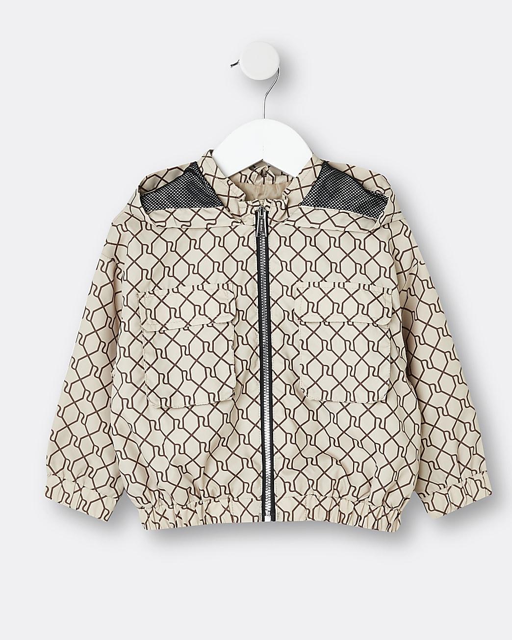 Mini girls beige RI monogram zip up jacket