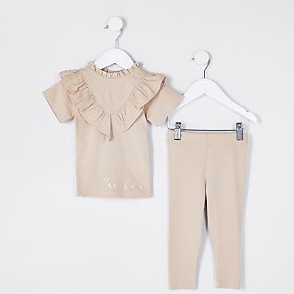 Mini girls beige rib poplin frill  outfit