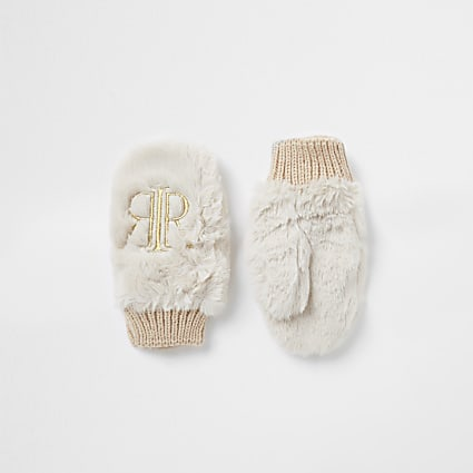 Mini girls beige RIR faux fur mittens