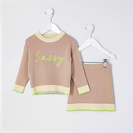 Mini girls beige 'Sassy' jumper outfit