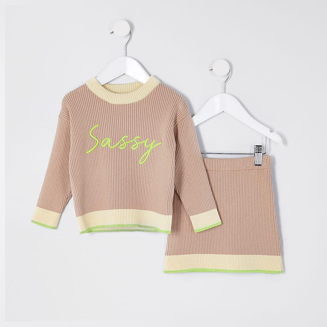 Mini girls beige 'Sassy' jumper outfit