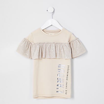 Mini girls beige sequin frill t-shirt dress