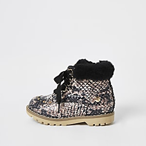 Mini girls beige snake printed faux fur boots