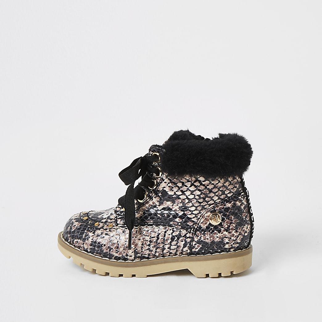 Mini - Beige laarzen met imitatiebont en slangenprint voor meisjes