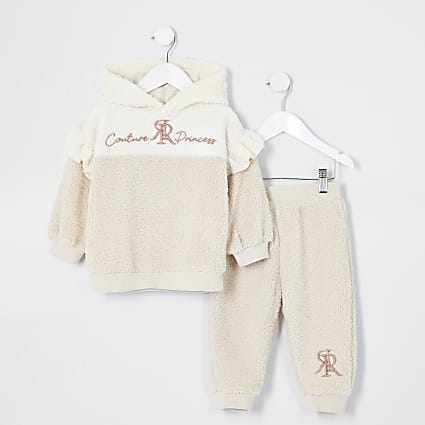 Mini girls beige spliced borg sweat oufit