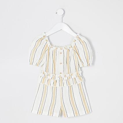 Mini girls beige stripe frill waist playsuit