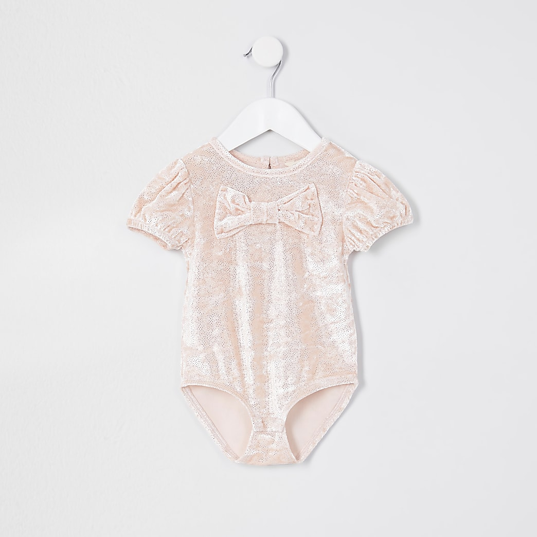 Mini girls beige velvet bow glitter bodysuit