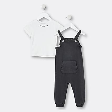 Mini girls black 2 piece jumpsuit