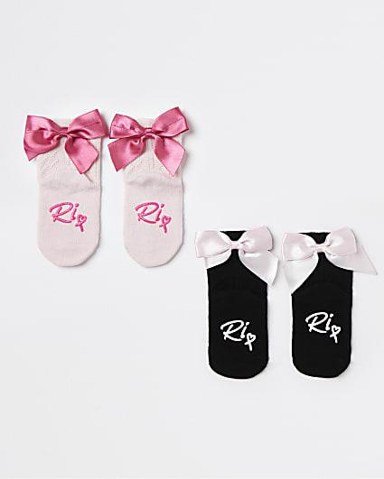 Mini girls black and pink bow socks 2 pack