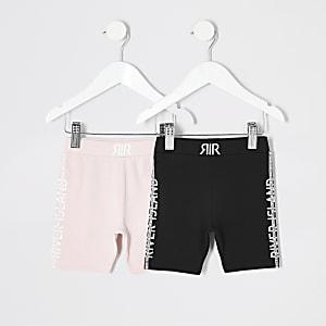 Mini fille - Short cycliste noir et rose