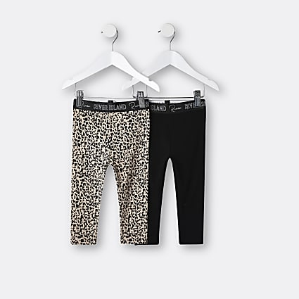 Mini girls black animal print leggings 2 pack