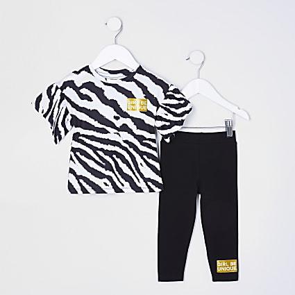 Mini girls black animal print leggings outfit