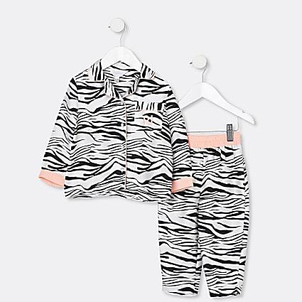 Mini girls black animal print pyjama set