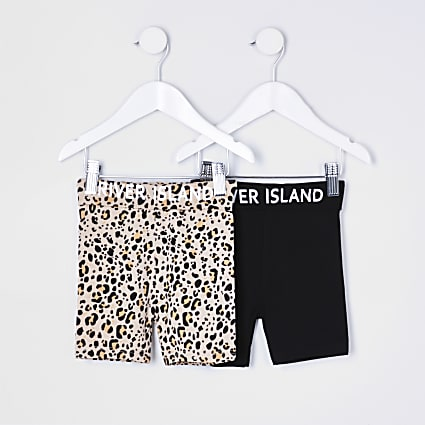 Mini girls black animal print shorts 2 pack
