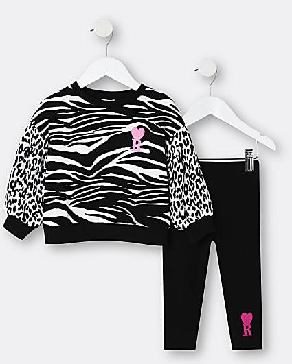 Mini girls black animal print sweatshirt set