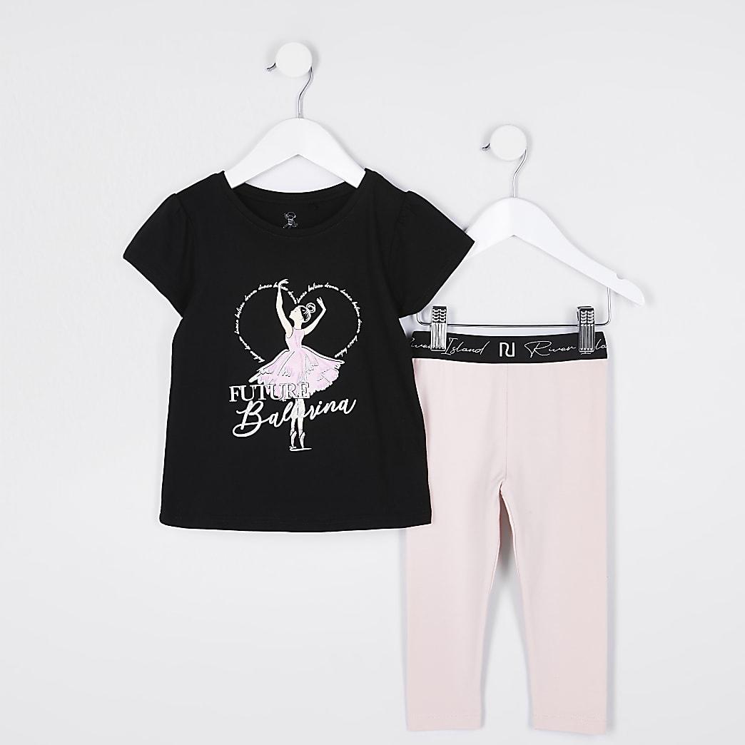 Mini girls black 'Ballerina' legging outfit